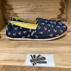 Toms anchor style print canvas flat sneakers
